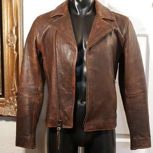 Banana Republic Brown Leather Bomber Moto Jacket